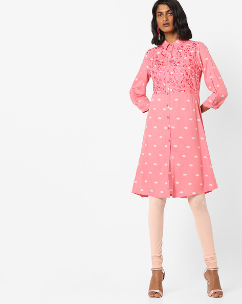Printed Shirt Kurta With Floral Embroidery By AJIO ( Pink )