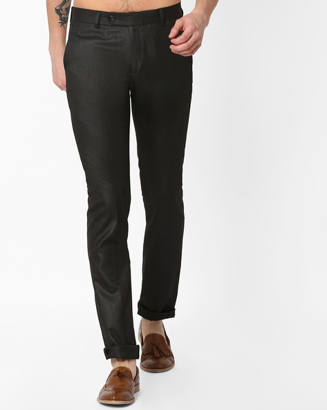 Slim Fit Flat-Front Trousers By British Club ( Black ) - 460063288001