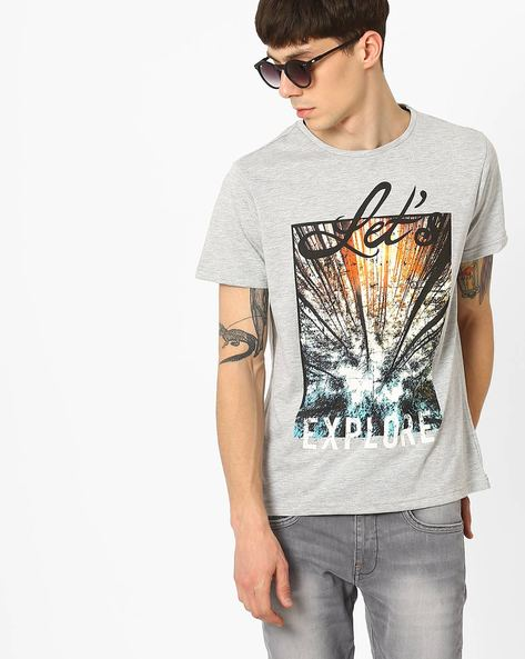 Graphic Print Slim Fit T-shirt By AJIO ( Greymelange )