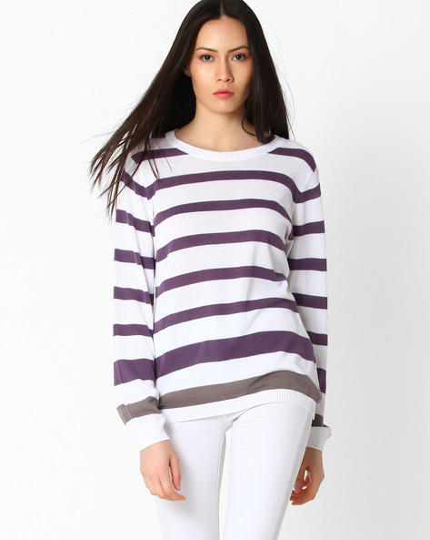 Striped Knitted Pullover By TEAM SPIRIT ( Purple )