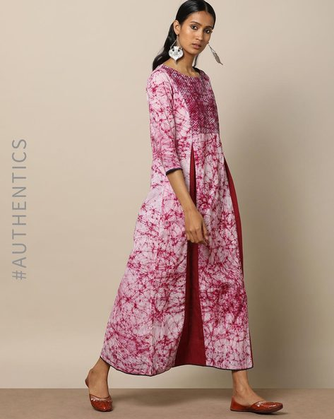 Hand Tie & Dye Cotton Embroidered Kalidar Dress By Indie Picks ( Maroon )
