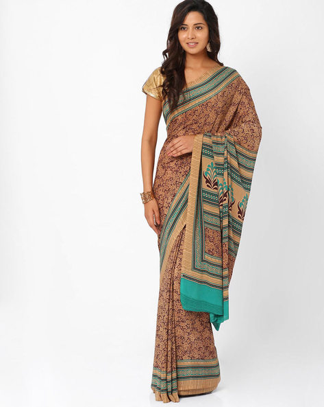 Printed Art Crepe Saree By Majestic Silk ( Beige )