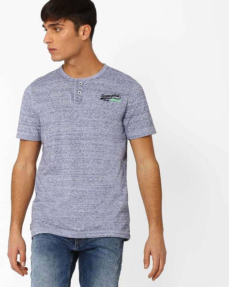Henley T-shirt With Short Sleeves By TEAM SPIRIT ( Blue )