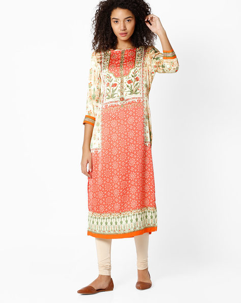Printed Straight Kurta By Indian Ink ( Orange )