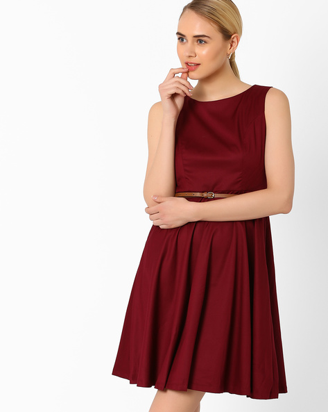 Fit & Flare Dress With Belt By AJIO ( Maroon )
