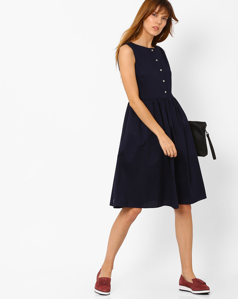 Sleeveless Dress With Short Button Placket By AJIO ( Navyblue )