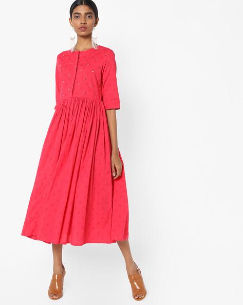 Flared Midi Dress By AJIO ( Coral )