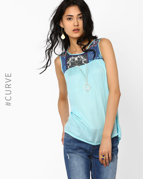 Sleeveless Top With Printed Yoke By AJIO ( Blue )