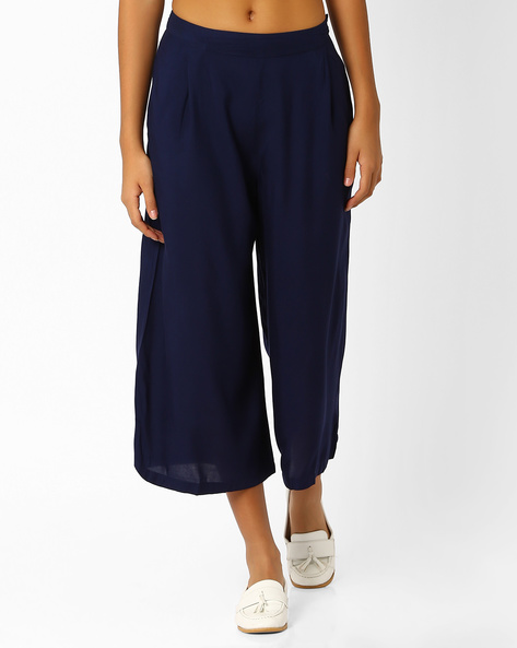 Pleated Culottes With Slant Pockets By Oxolloxo ( Navyblue )