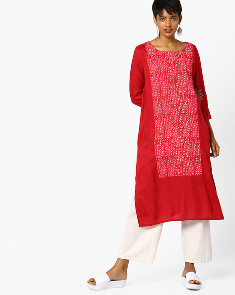 Straight Kurta With Printed Panels By PE IW Casual ( Wine )