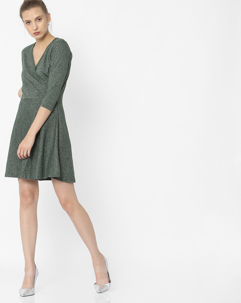 Grindle A-Line Dress With Surplice Neck By ANONYMOUS CO ( Green )