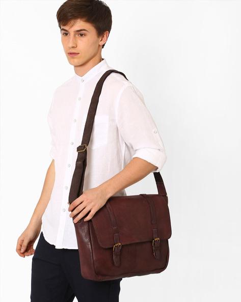 Genuine Leather Messenger Bag By TEAKWOOD LEATHERS ( Brown )