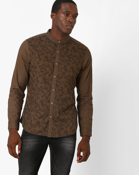 Printed Slim Fit Shirt With Elbow Patches By AJIO ( Olive )