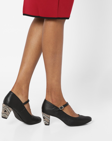 Chunky Heels With Embellishments By AJIO ( Black )