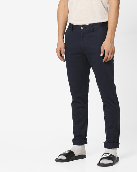Flat-Front Slim Fit Trousers By US POLO ( Navy )