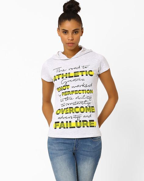 Printed T-shirt With Hood By TEAM SPIRIT ( Greymelange )