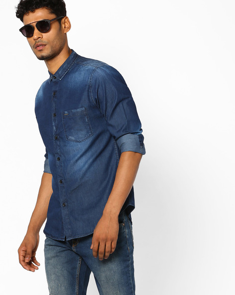 Slim Fit Distressed Denim  Shirt By AJIO ( Blue )