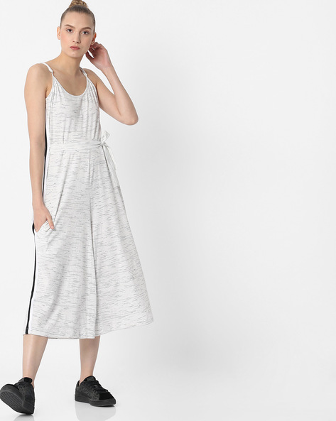 Strappy Slub-Patterned Jumpsuit By Teamspirit ( Offwhite )