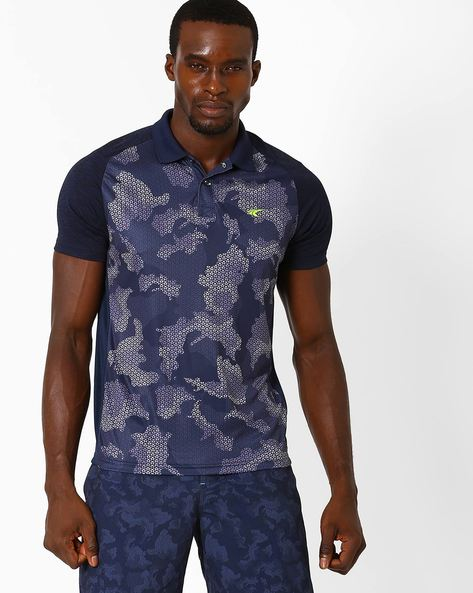 Camo Print Polo T-shirt With Quick Dry By PERFORMAX ( Navy )