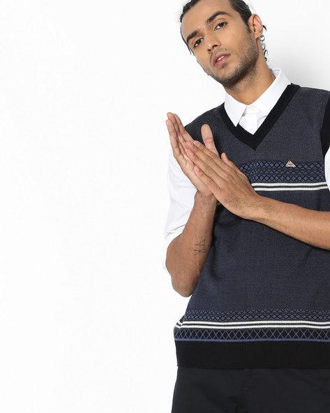Patterned-Knit V-neck Pullover By DUKE ( Navy ) - 440816323002