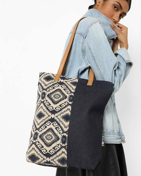 Colourblock Denim Tote Bag By Kanvas Katha ( Multi )