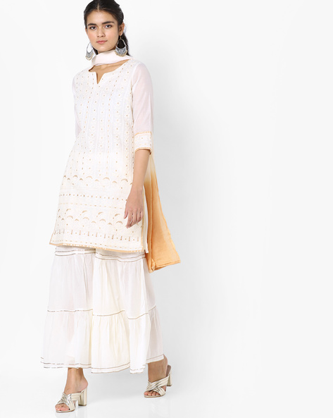 Embroidered Kurta With Dupatta & Sharara Pants By Trishaa By Pantaloons ( Offwhite )