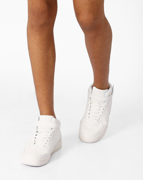Mid-Top Sneakers With Ankle Strap By AJIO ( White )