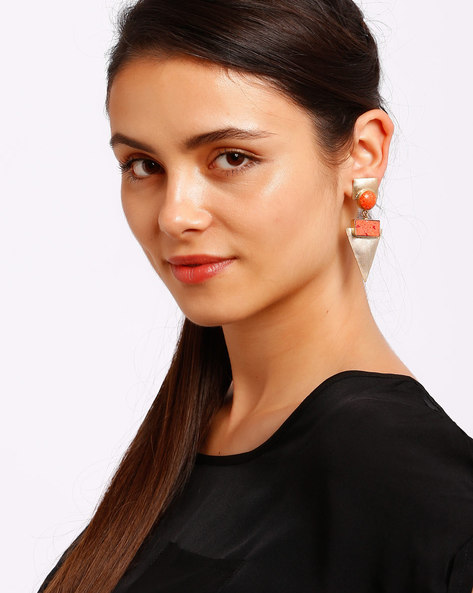 Gold-Plated Drop-Earrings By Ssoul ( Coral )