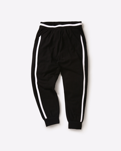 Cuffed Track Pants With Contrast Stripes By AJIO ( Black )