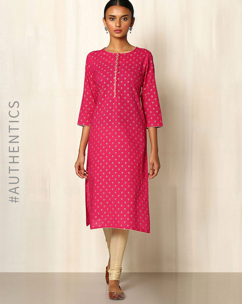 Cotton Handblock Gold Khari Print Kurta By Indie Picks ( Fuchsia )