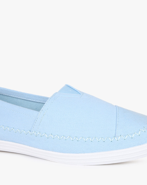 Panelled Slip-On Shoes With Elasticated Gusset By AJIO ( Lightblue )