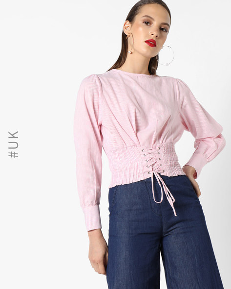 Crop Top With Corset Lace-Up By INFLUENCE ( Pink )