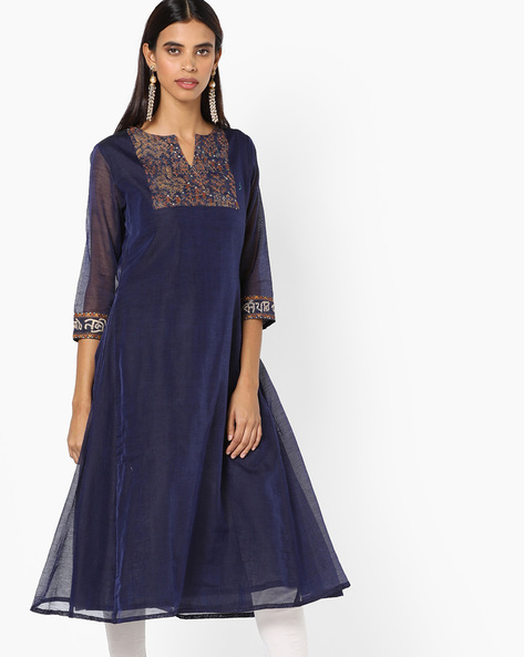 A-line Kurta With Floral Embroidery By AJIO ( Navy )