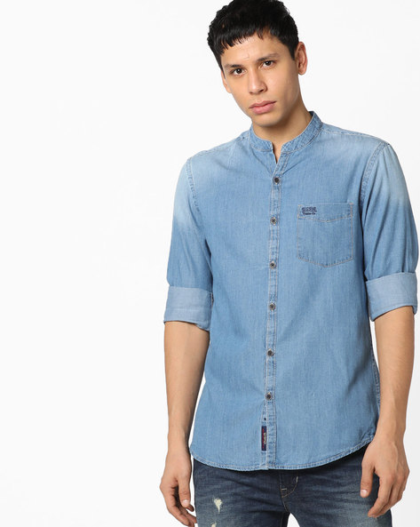 Lightly Washed Slim Fit Denim Shirt By US POLO ( Assorted )