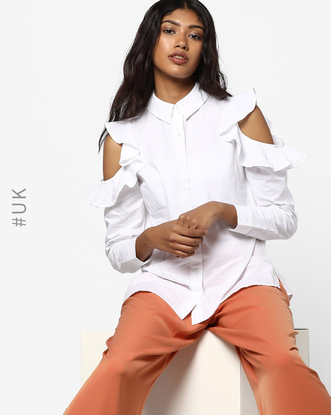 Cotton Shirt With Cold Shoulders By INFLUENCE ( White )