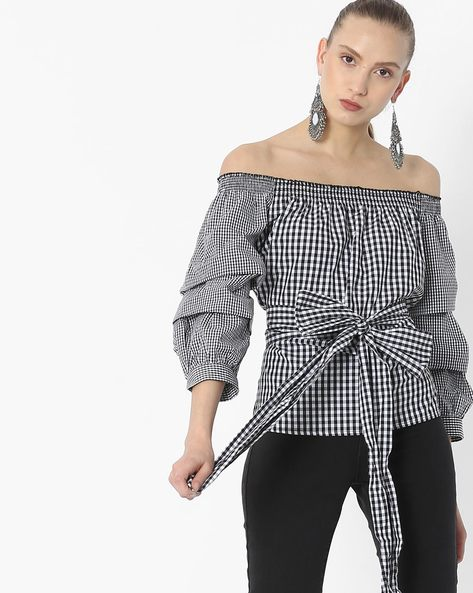 Gingham Check Off-Shoulder Top By Vero Moda ( Black )