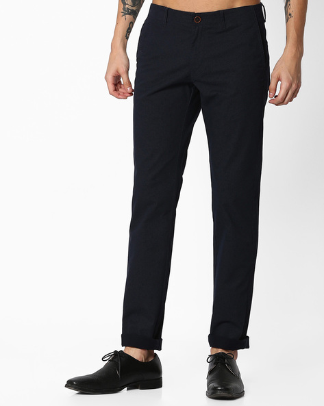Slim Fit Flat-Front Trousers By INDIAN TERRAIN ( Navy )