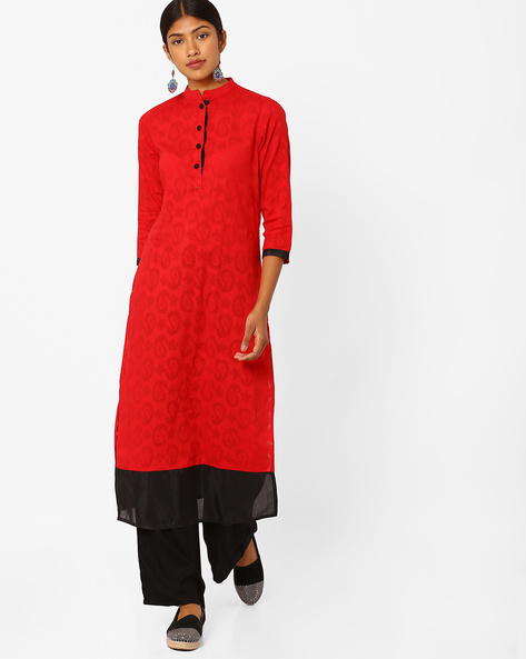 Paisley Print Kurta With Palazzo Pants By Jaipur Kurti ( Red )