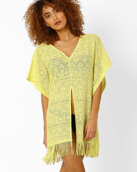 Lace Cover-Up With Tassels By PrettySecrets ( Yellow )