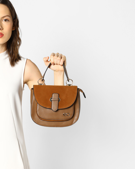 Suede Satchel Bag With Detachable Straps By E2O ( Khaki )