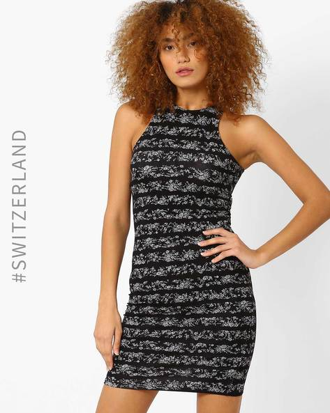 Printed Bodycon Dress With Cut-Away Shoulders By TALLY WEiJL ( Black )