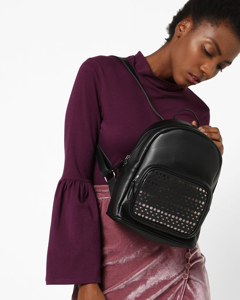 Textured Backpack With Laser-Cut Detailing By Kanvas Katha ( Black )