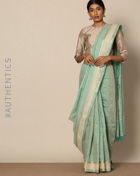 Handloom Pure Silk Muga Saree By Indie Picks ( Grey ) - 460135804001