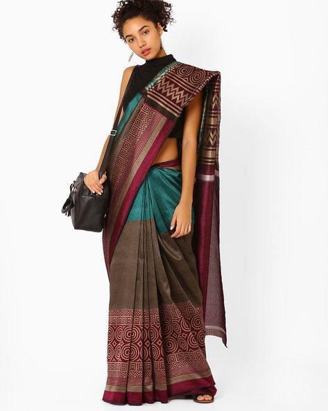 Printed Silk Saree By Florence ( Purple )