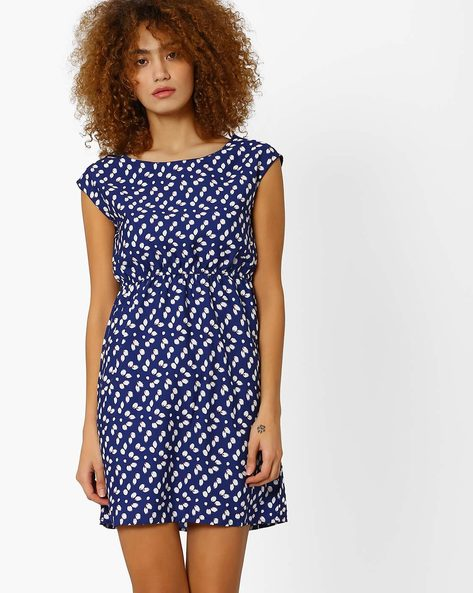 Printed A-line Dress With Cap Sleeves By Honey By Pantaloons ( Navy )