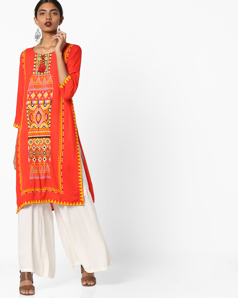 Printed Straight Kurta With Tassel By Melange By Lifestyle ( Orange )