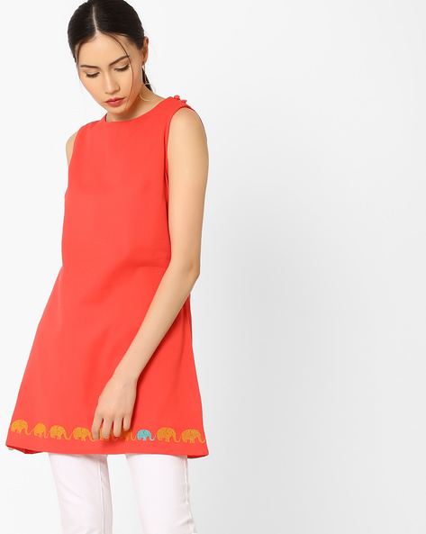 Sleeveless Tunic With Embroidery By AJIO ( Coral )