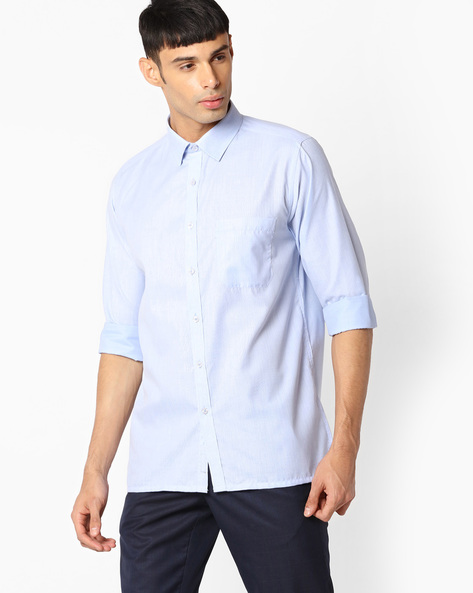 Regular Fit Shirt With Patch Pocket By VIMAL APPARELS ( Blue ) - 438042967004