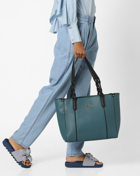 Tote Bag With Braided Straps By Lavie ( Teal )