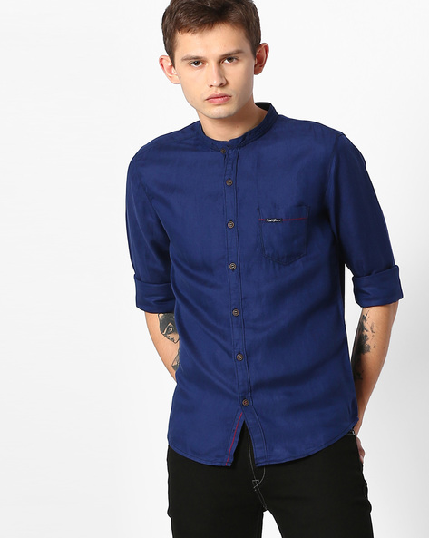 Slim Fit Shirt With Patch Pocket By MUFTI ( Navyblue )